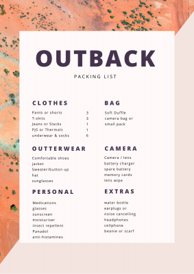 Outback Packing List